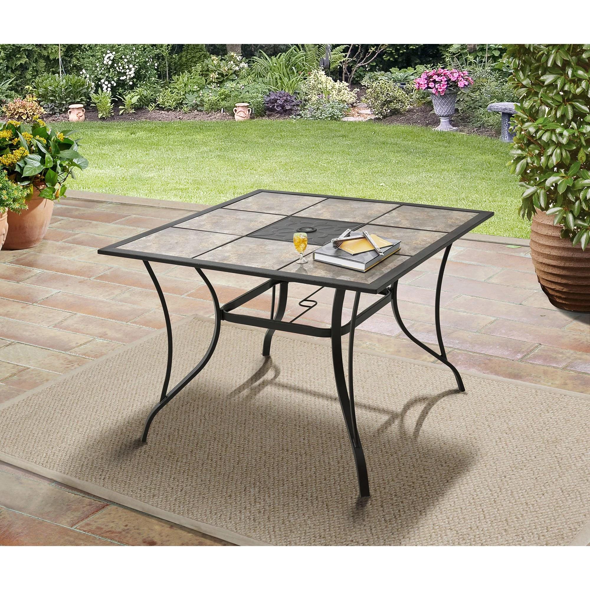 mainstays heritage park 40 tiled patio dining table walmart com