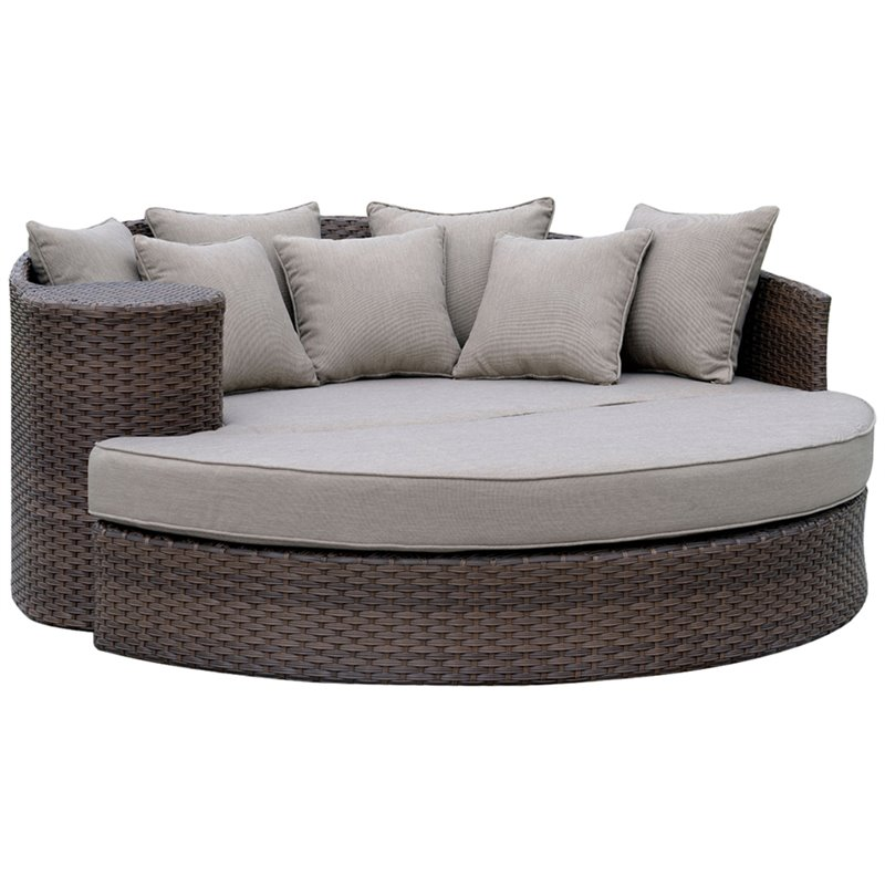 furniture of america kye 2 piece round patio wicker daybed in brown walmart com