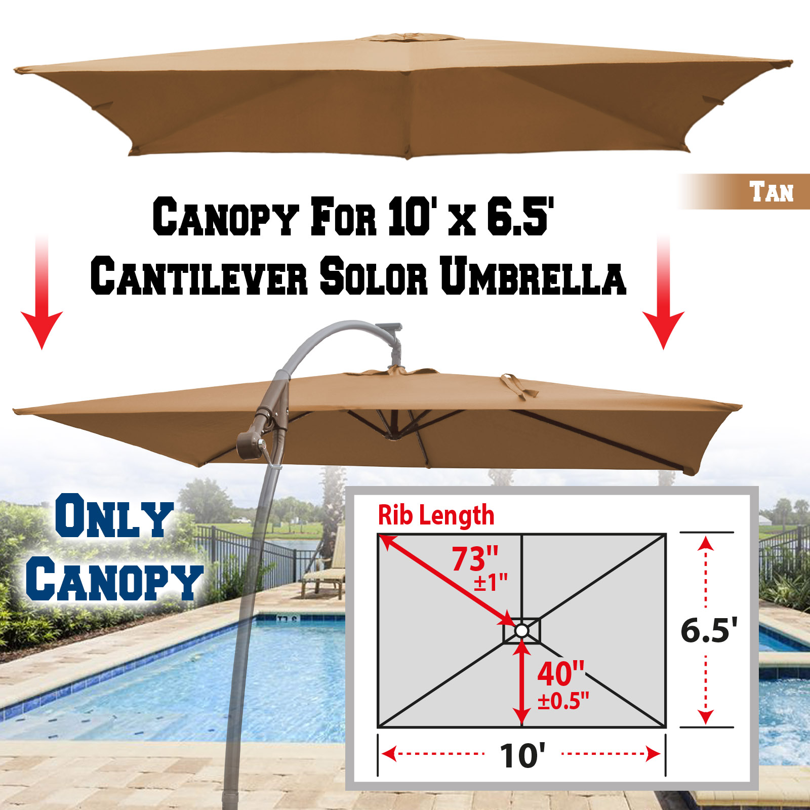 strong camel replacement canopy cover for 10 x 6 5 cantilever patio umbrella offest parasol top replacement tan