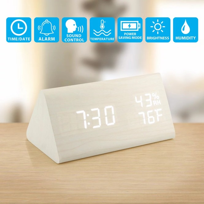 Wooden Alarm Clock Wood Led Desk