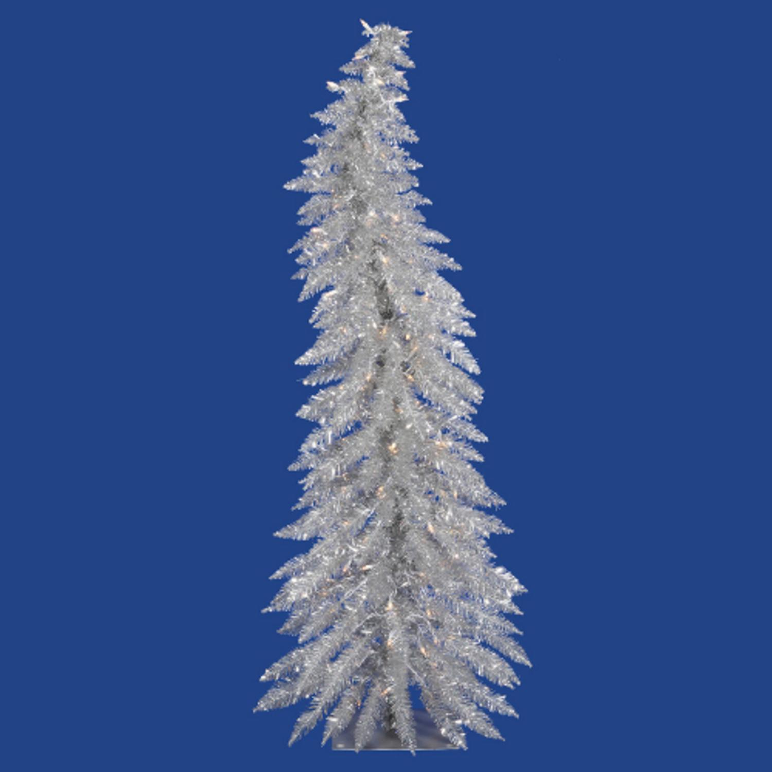 5 Pre Lit Whimsical Silver Artificial Tinsel Christmas
