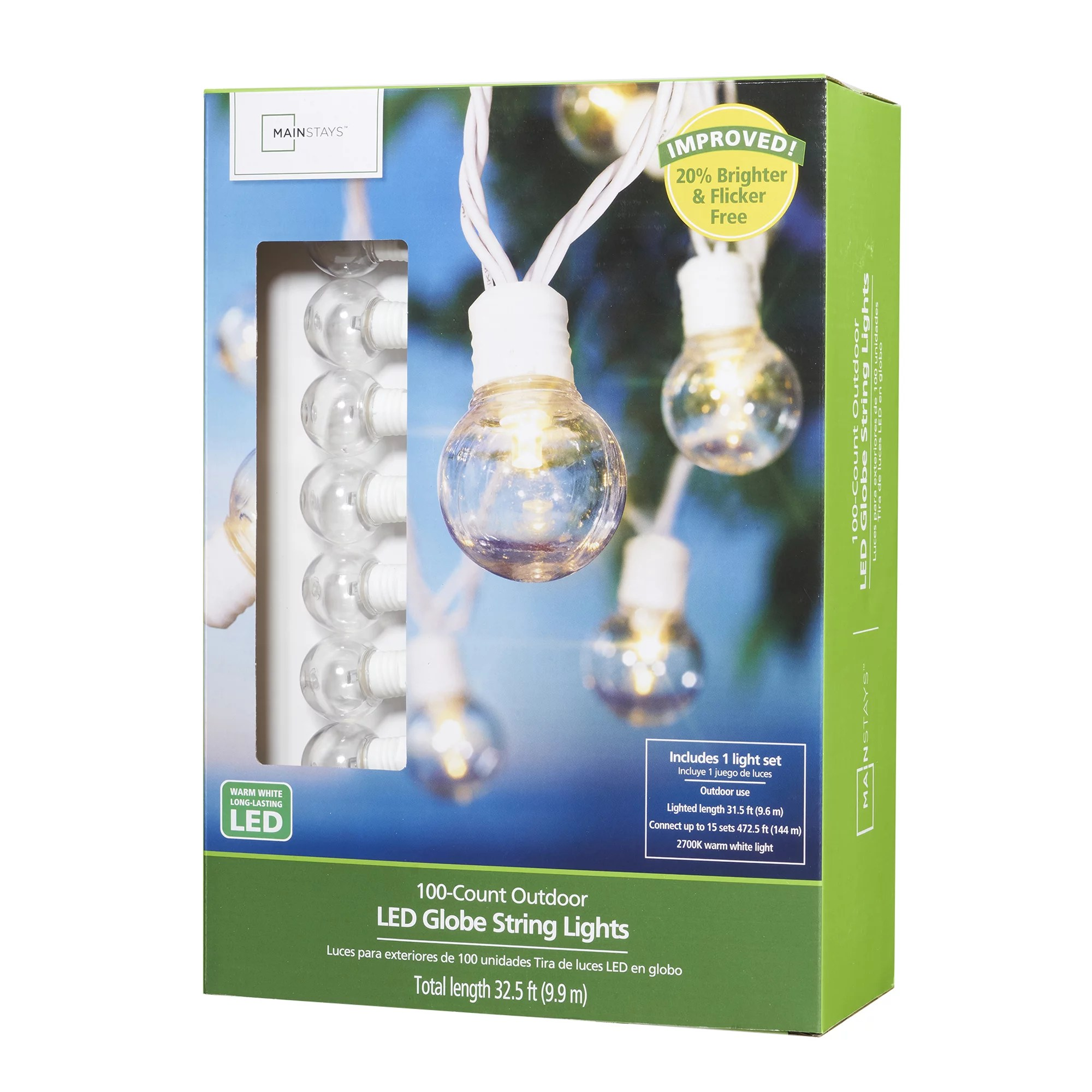 mainstays 100 count outdoor led globe string lights white wire