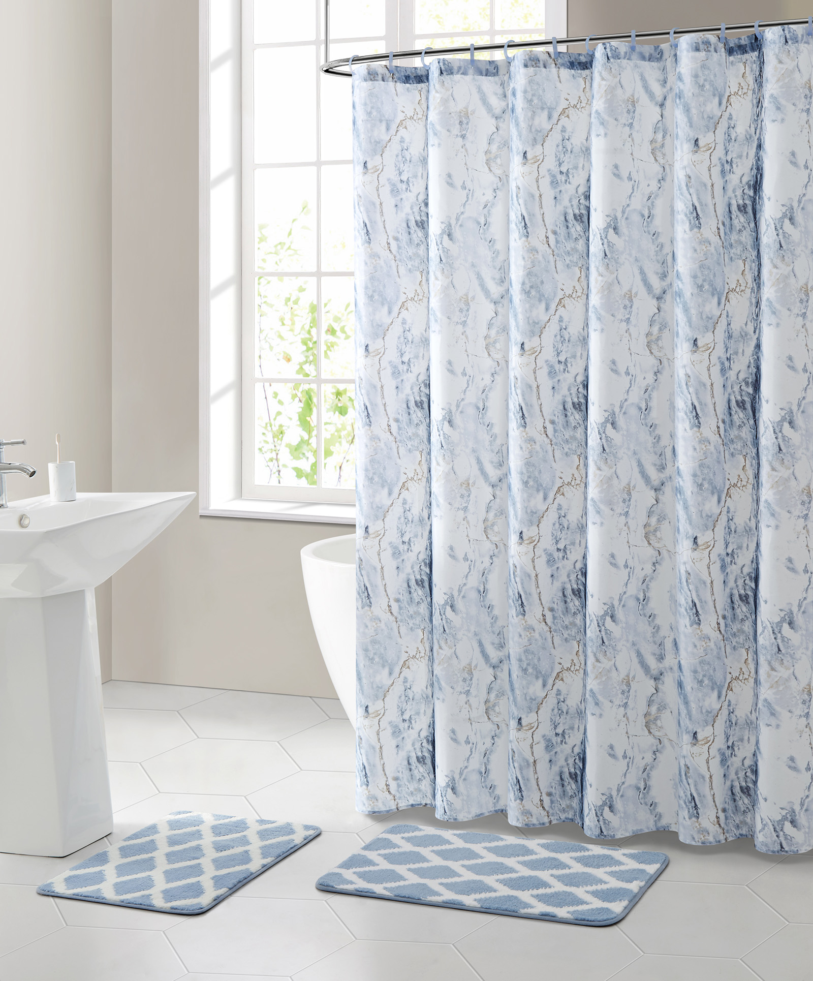 mainstays marble polyester shower curtain bath set blue 15 pieces