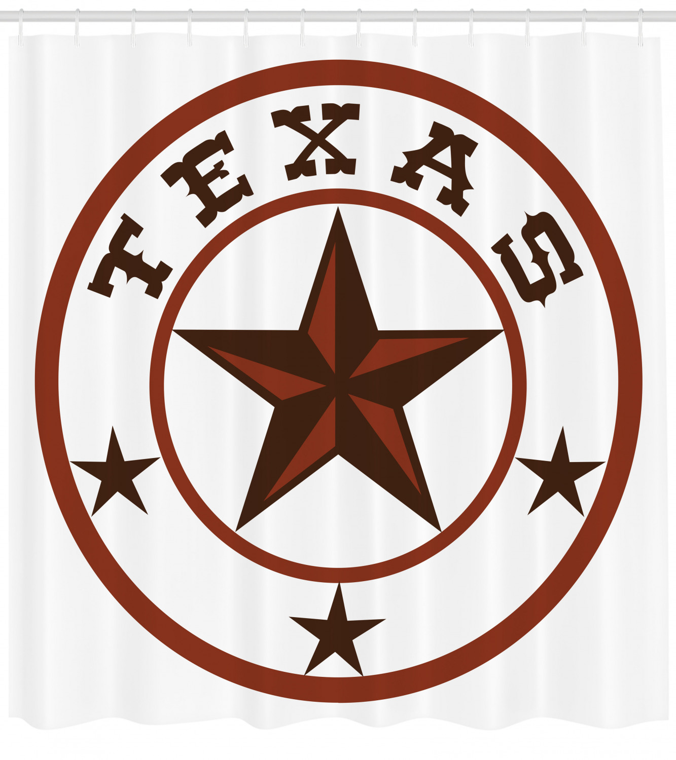 Texas Star Shower Curtain Round Symbol With Lone Star Earth Toned Monochromatic Illustration Fabric Bathroom Set With Hooks 69w X 75l Inches Long