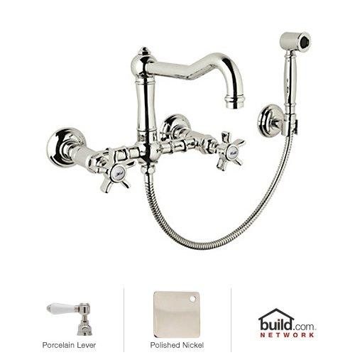 rohl a1456lpwspn 2 country kitchen 8 7 8 wall mount c spout bridge kitchen faucet with hand spray in polished nickel handles porcelain levers