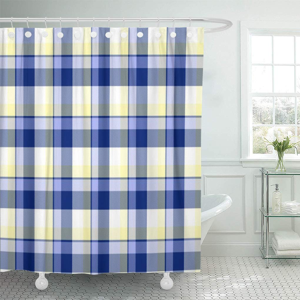 cynlon classic fresh blue yellow tartan vintage white shaker home bathroom decor bath shower curtain 60x72 inch