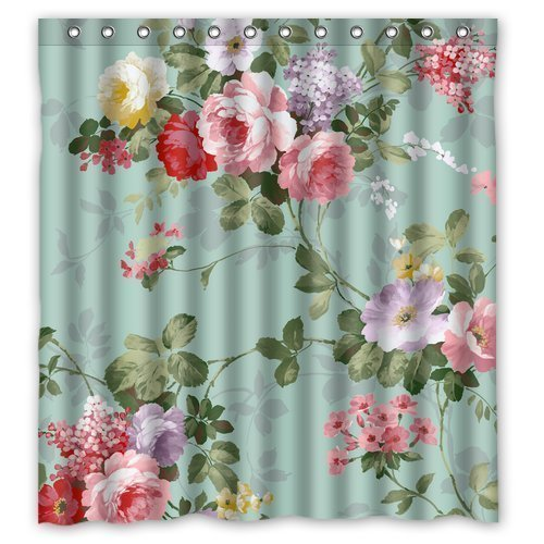 greendecor mint green floral waterproof shower curtain set with hooks bathroom accessories size 66x72 inches