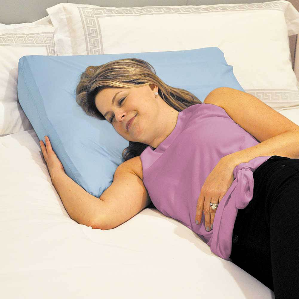 inflatable bed wedge pillow w pump cover breathe easier reduce heartburn