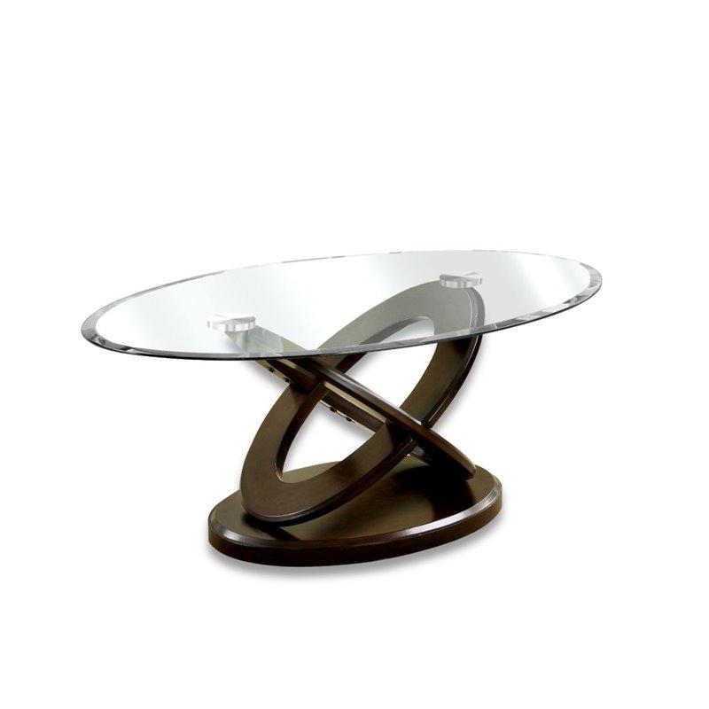 furniture of america darbunic wood coffee table in dark walnut