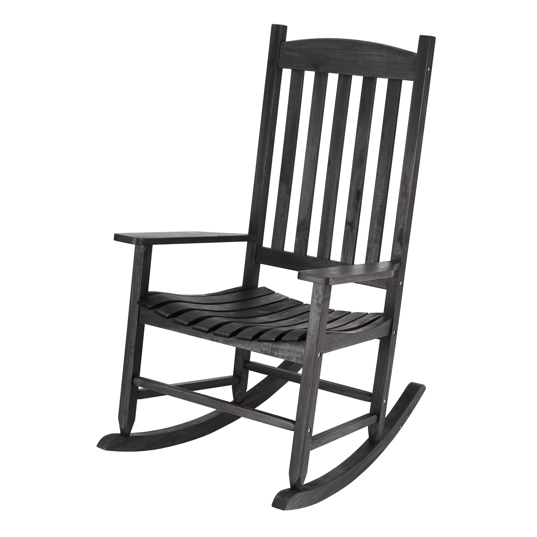 Mainstays Black Solid Wood Slat Outdoor Rocking Chair Walmart Com Walmart Com