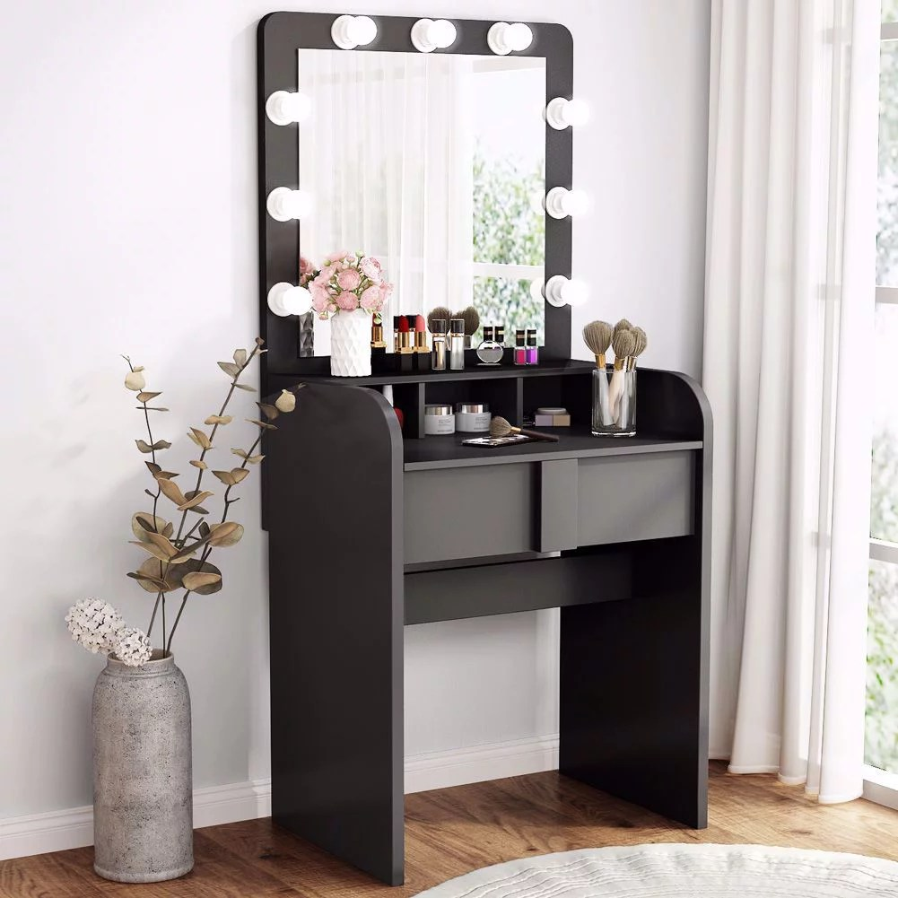 tribesigns vanity table set with lighted mirror makeup vanity dressing table with 9 cool light bulb modern dressing table dresser desk with drawers