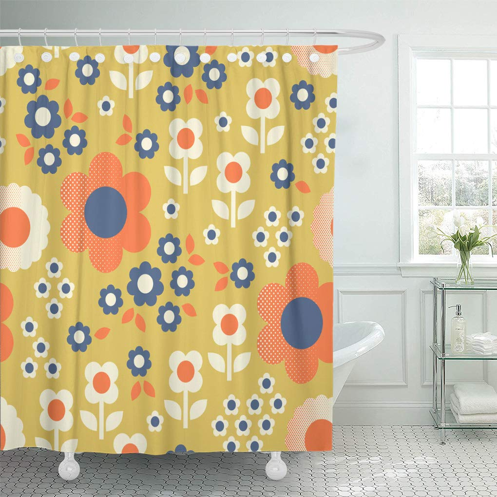 cynlon colorful 60s retro pattern flowers 1960s 70s floral 1970s bathroom decor bath shower curtain 60x72 inch walmart com