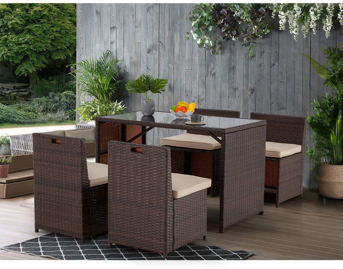 erommy outdoor dining set 5 pcs patio table and chairs set conversation set thick cushion rattan chairs