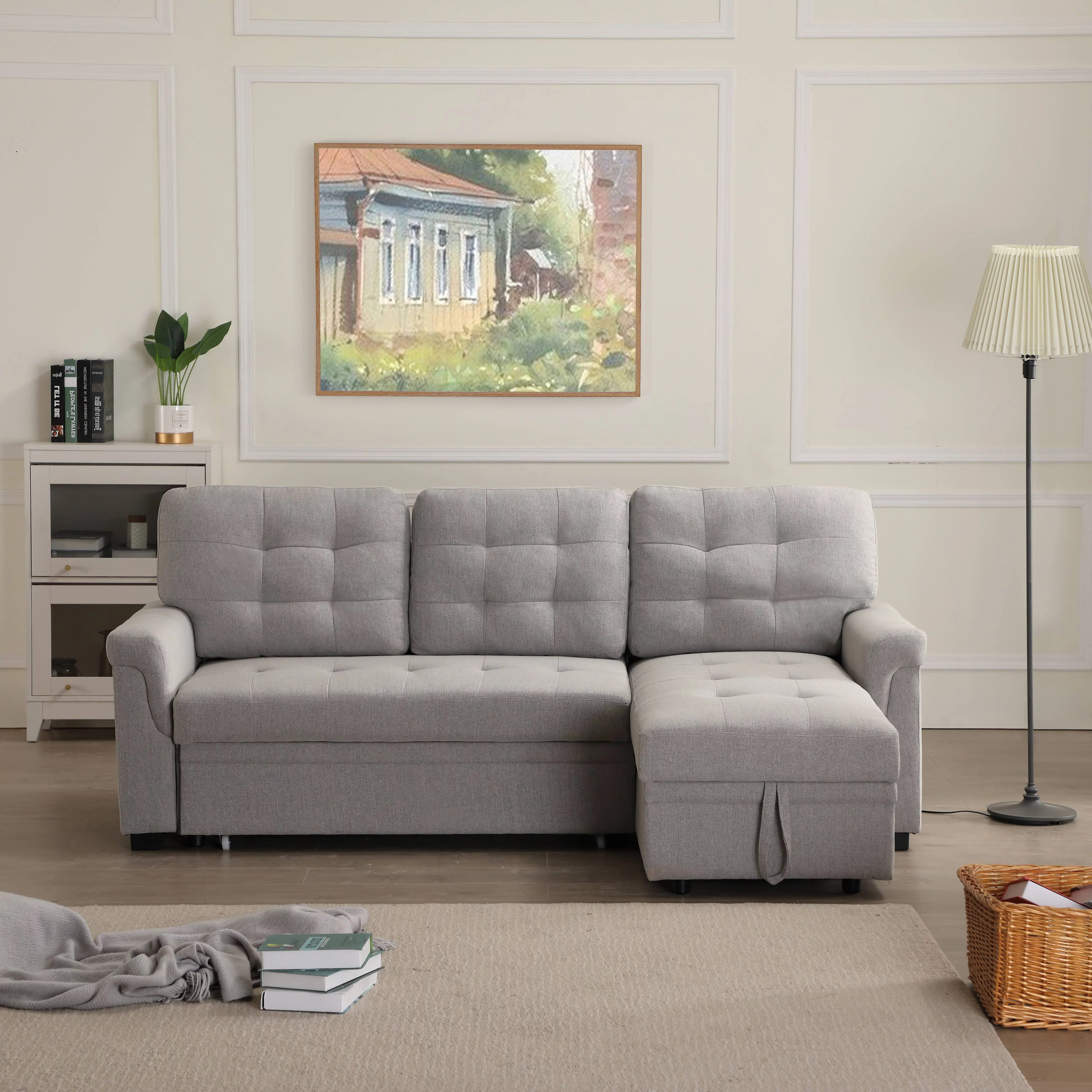 Segmart Mid Century Modern Sofa Bed With Fold Out Twin Size Sleeper And Solid Frame 33 X 86 X 54 5 Upholstery Fabric Sectional Sofas Sleeper Bed With Solid Wood Frame 500lbs Grey S1749
