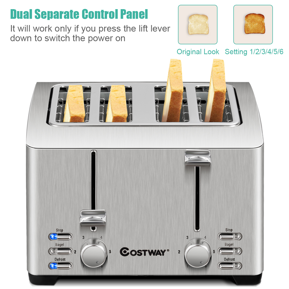 costway stainless steel 4 slice toaster extra wide slot 6 shade setting w warming rack