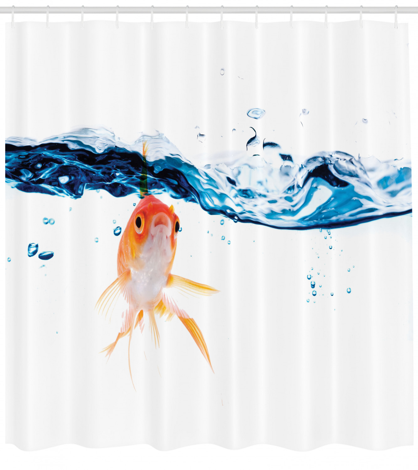 fish shower curtain goldfish swimming under surface of clear water fishbowl liquid motion abstract style fabric bathroom set with hooks 69w x 70l