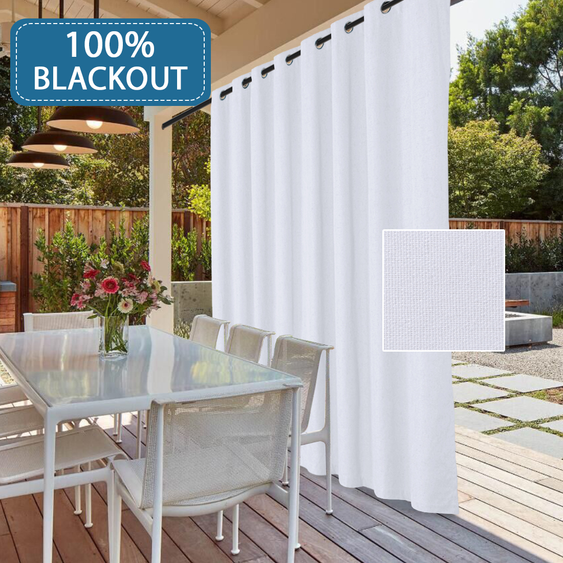 wide outdoor thermal 100 blackout patio white curtain panel waterproof sliding door curtains with anti rust grommet top decorative room divider