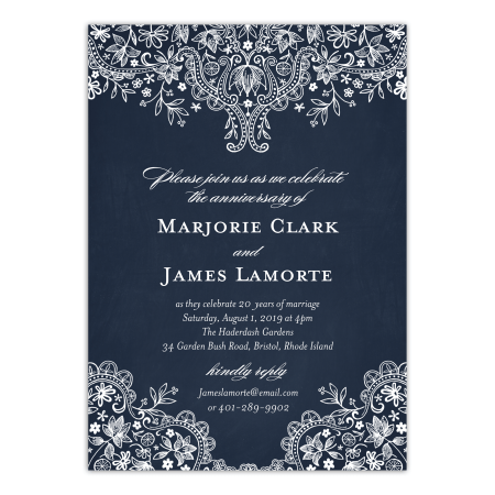 Personalized Wedding Anniversary Party Invitation Rustic Lace 5 X 7 Flat