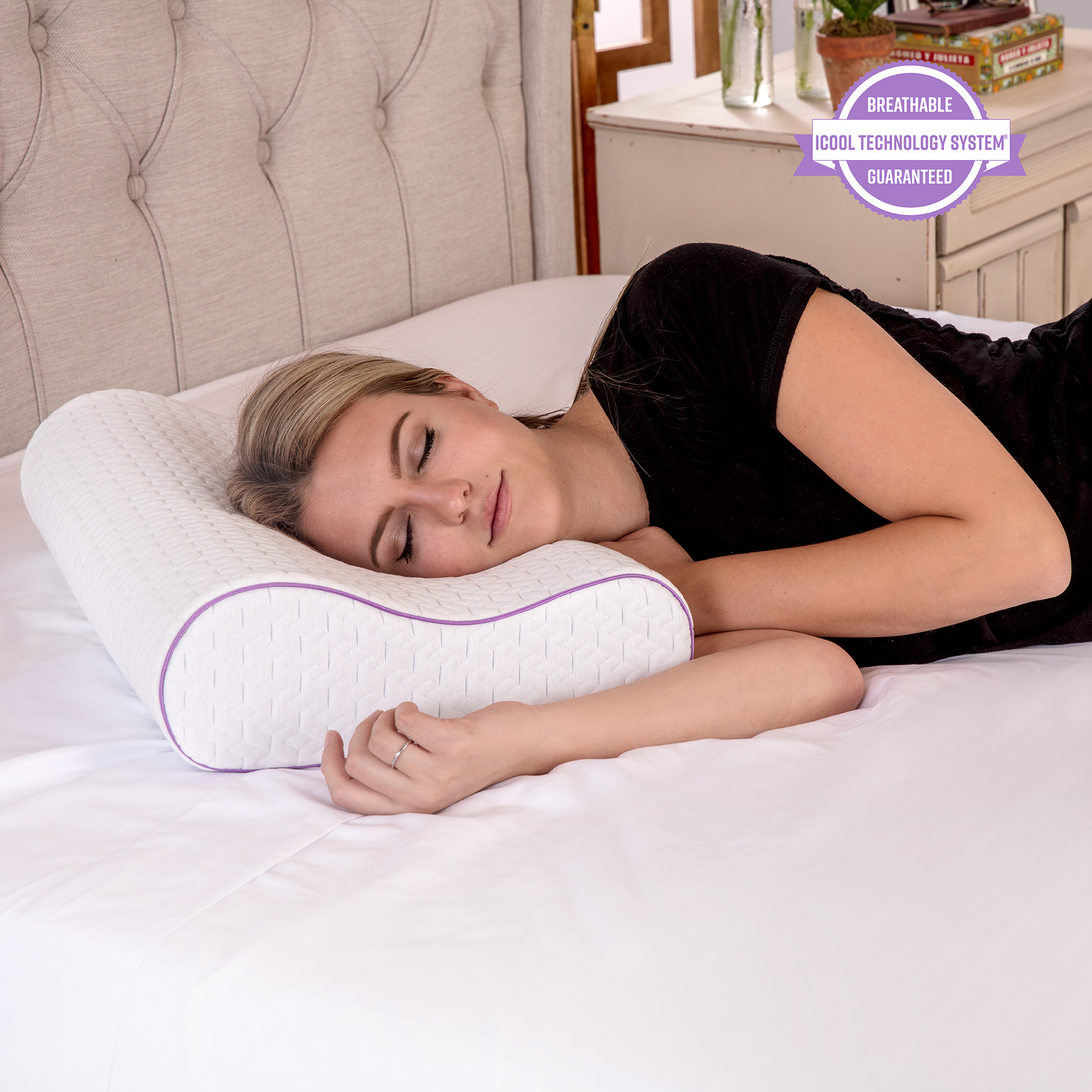 sensorpedic temperature regulating coolest comfort contour memory foam bed pillow walmart com