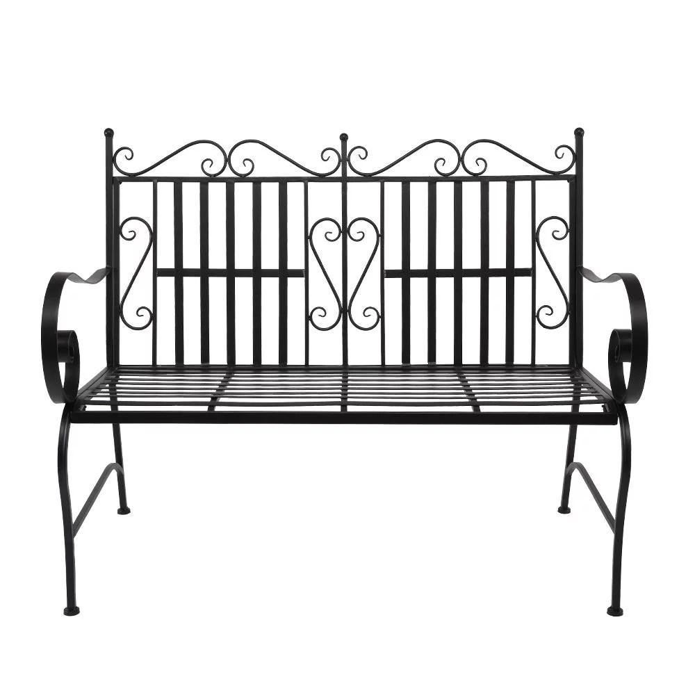 zimtown patio art flat frame wrought iron bench