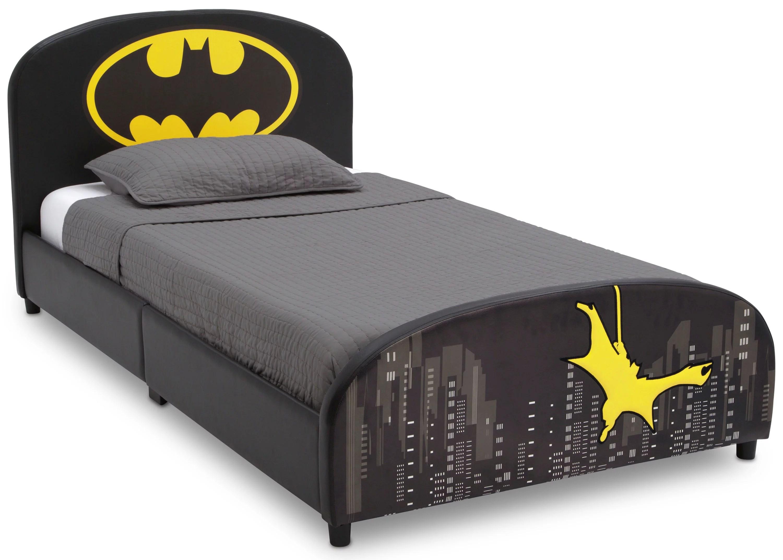delta children dc comics batman upholstered twin bed black walmart com