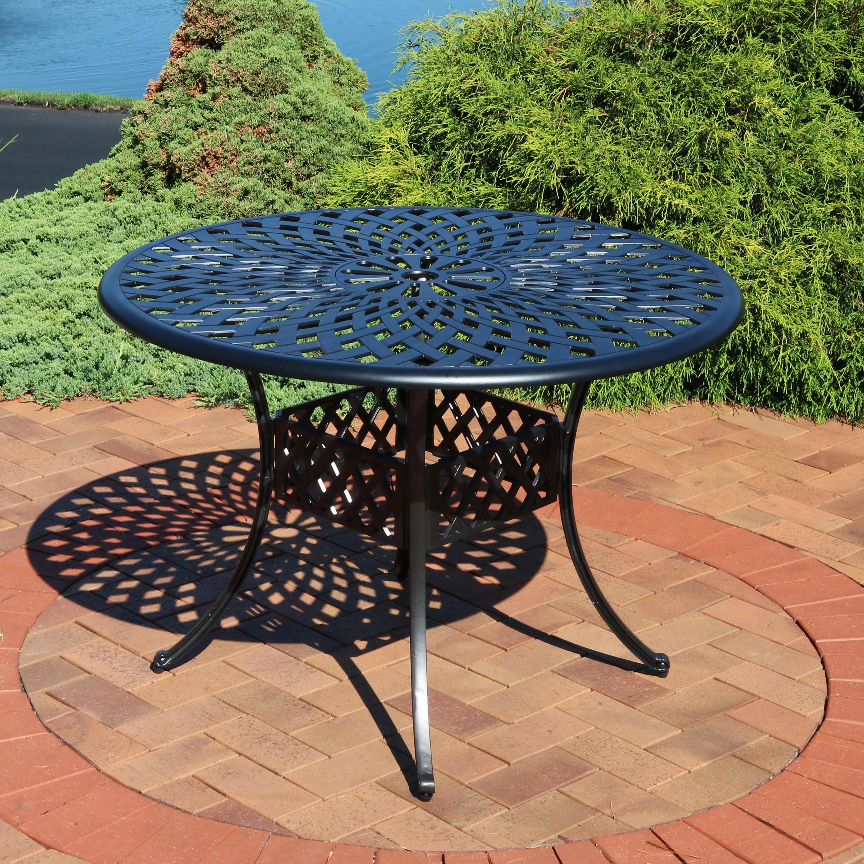 sunnydaze round patio dining table outdoor durable cast aluminum construction decorative crossweave design outside patio furniture with umbrella