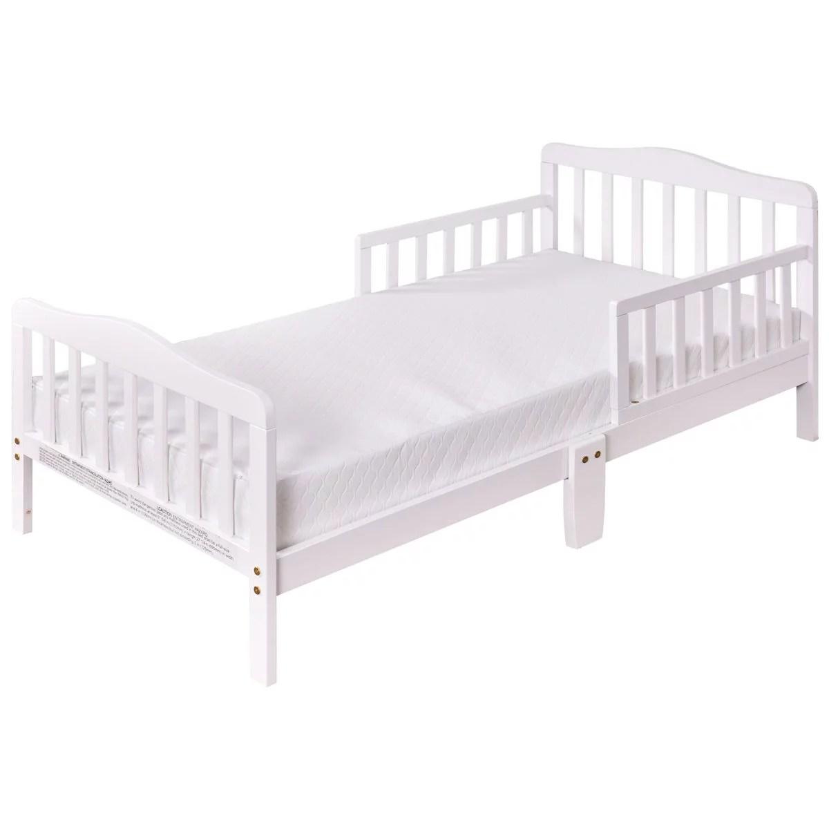 Costway Baby Toddler Bed Kids Children Wood Furniture W Safety Rails White Walmart Com Walmart Com