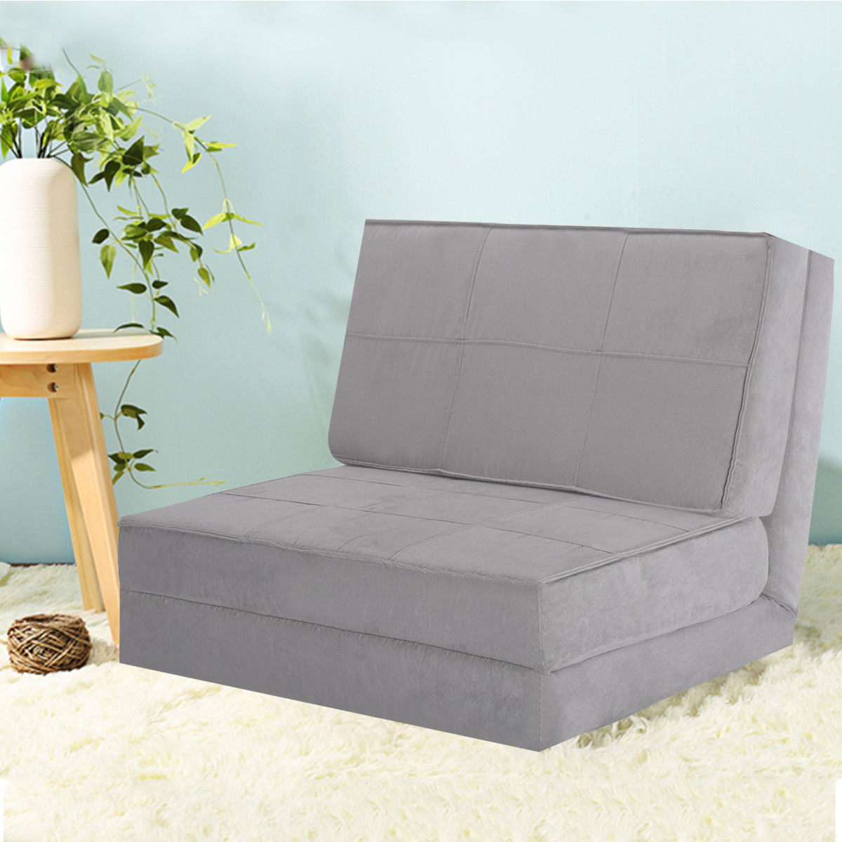 costway fold down chair flip out lounger convertible sleeper bed couch game dorm guest gray