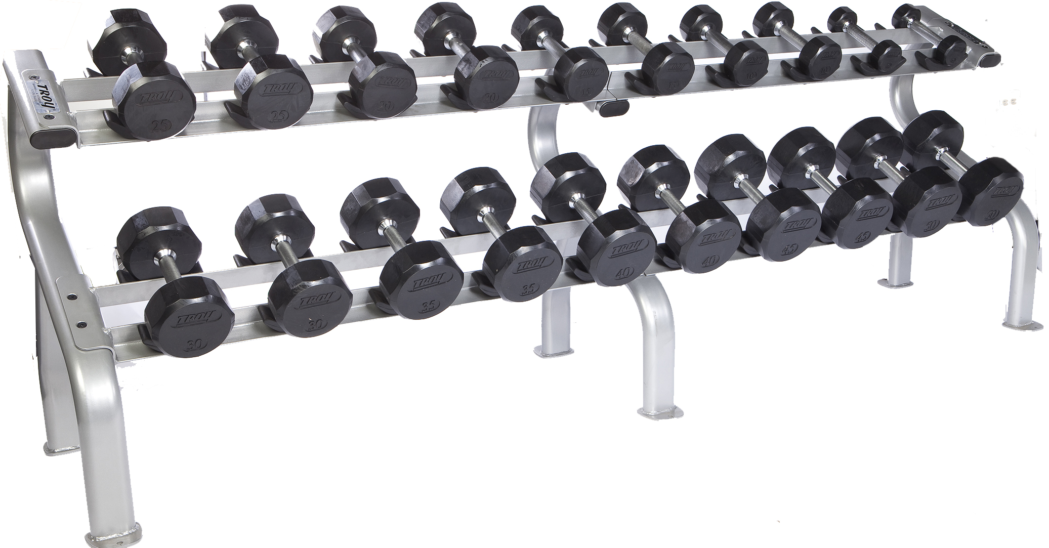 troy 5 50 lbs 10 pairs rubber dumbbell weight set w rack flat 12 sided head commercial gym quality by troy barbell walmart com