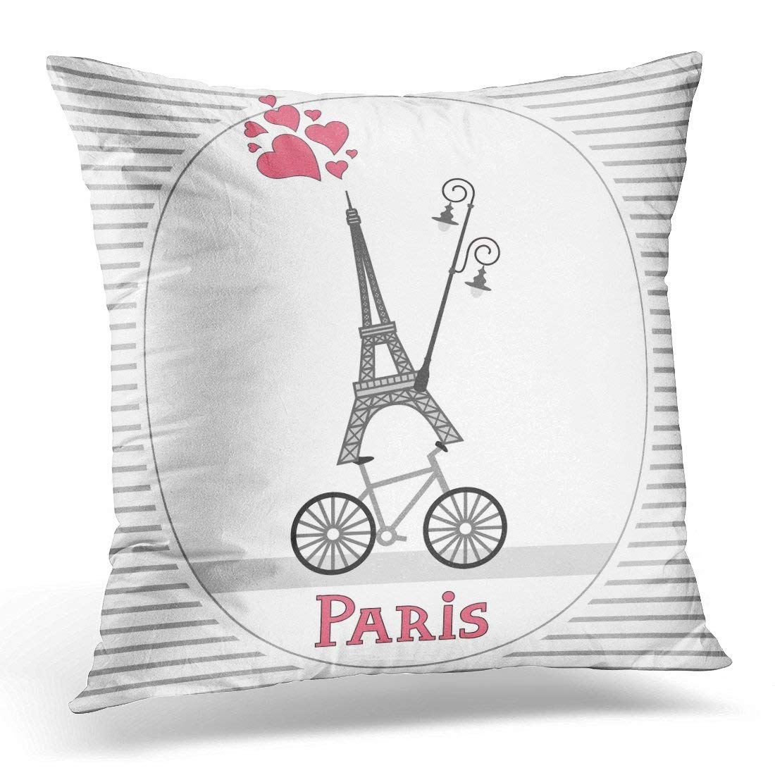 arhome paris love architecture bicycle bike city pillow case pillow cover 20x20 inch