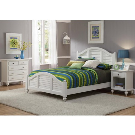 home styles bermuda 3 piece bedroom set in white-queen - walmart