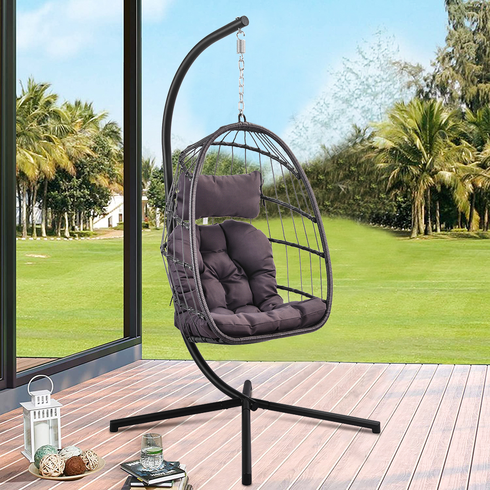 uhomepro resin wicker hanging egg chair with cushion and stand uv resistant outdoor patio hanging egg chair with aluminum frame heavy duty swing