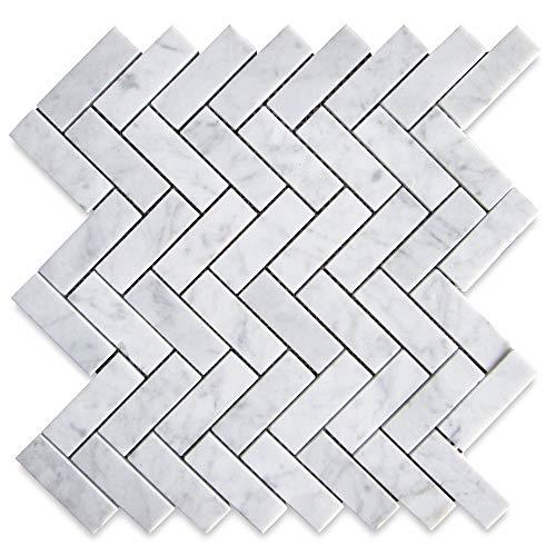 stone center online carrara white italian carrera marble herringbone mosaic tile 1 x 3 honed venato bianco kitchen backsplash bathroom floor tile