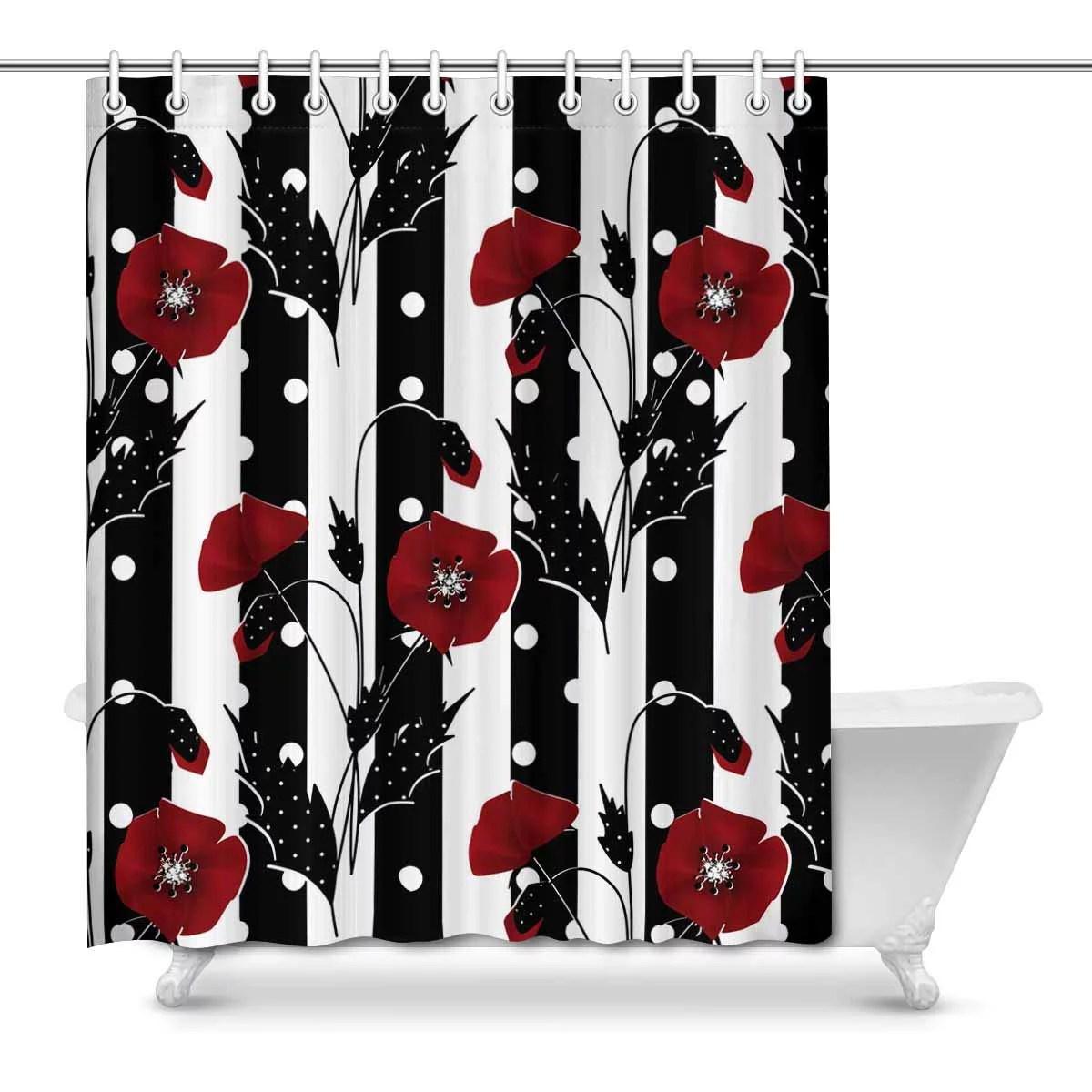 mkhert red poppies on black white stripes house decor shower curtain for bathroom decorative fabric bath curtain set 66x72 inch walmart com