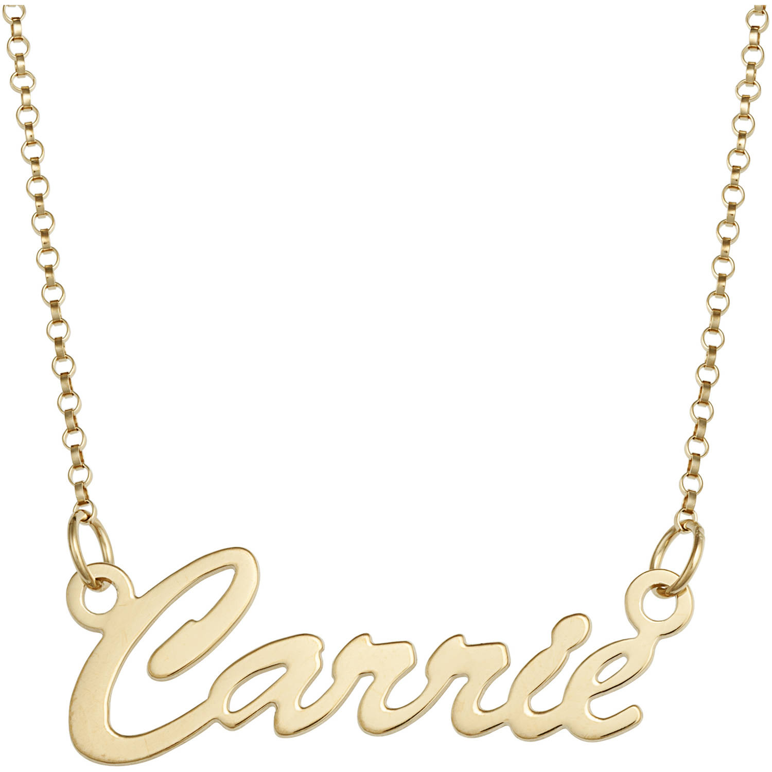Personalized Premium 14kt Gold over Sterling Hollywood Script Nameplate Necklace, 18″, 1mm thickness