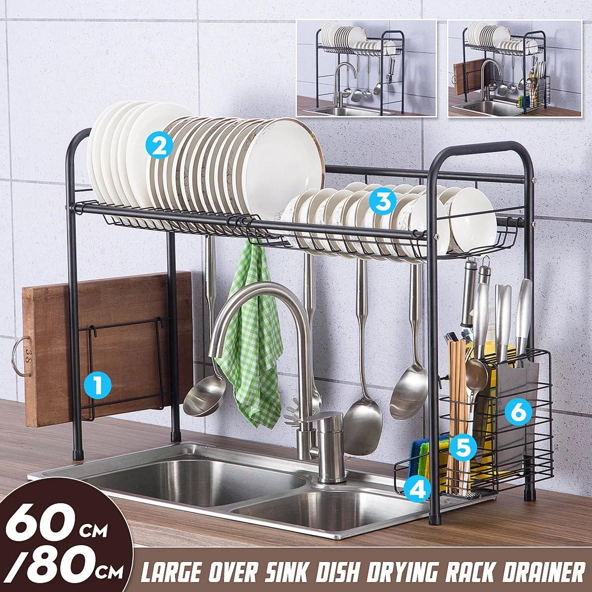 stainless steel dish drying rack utensil cutlery holder storage organizer rack 2 tier dish rack sink drainer home kitchen dish drainer