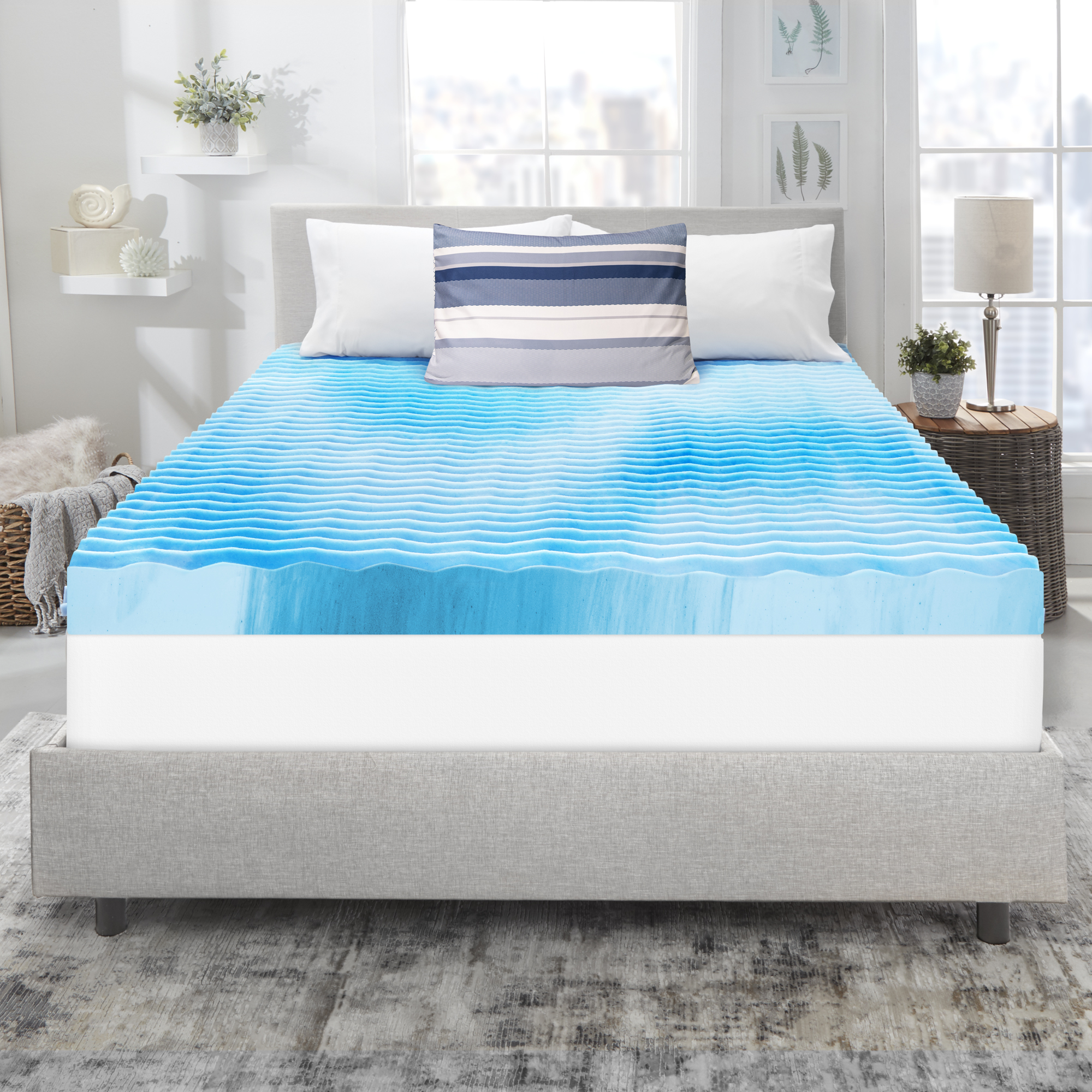 homedics 4 wave support memory foam antimicrobial mattress topper queen