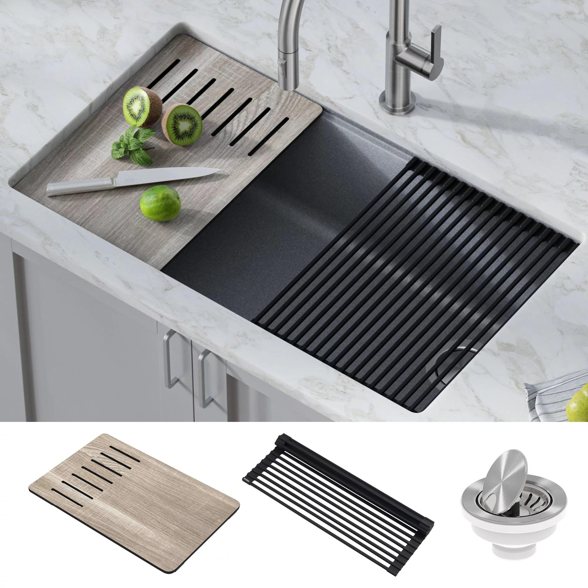 kraus bellucci workstation 33 inch undermount granite composite single bowl kitchen sink in metallic gray with accessories walmart com