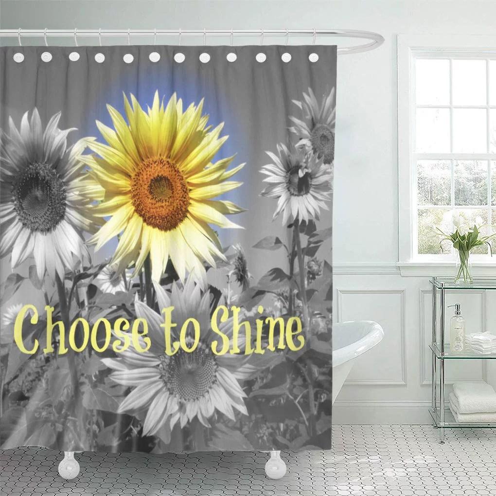 cynlon sayings inspirational choose to shine sunflower words floral black bathroom decor bath shower curtain 66x72 inch