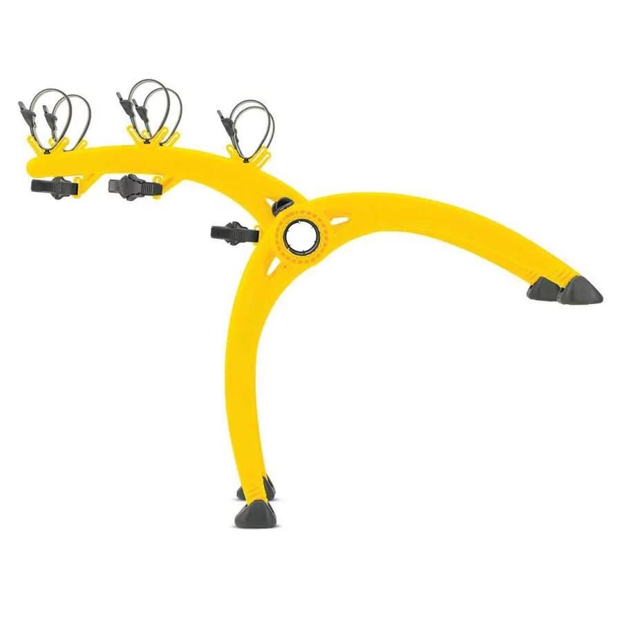 saris bones trunk mounted bike rack 3 bikes yellow