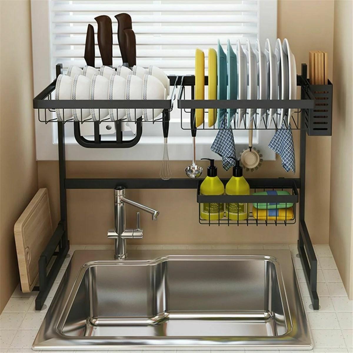 sink rack dish drainer for kitchen sink racks stainless steel over the sink shelf storage rack