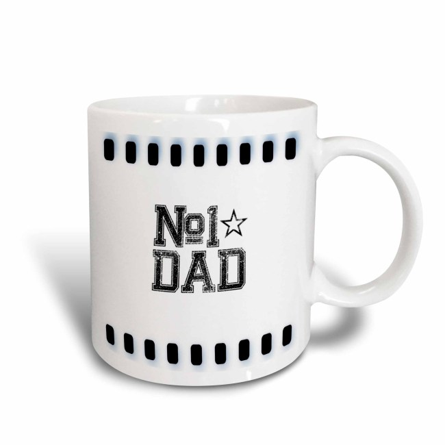 3dRose Number 1 Dad - Fathers - Fathers Day Art, Ceramic Mug, 11-ounce