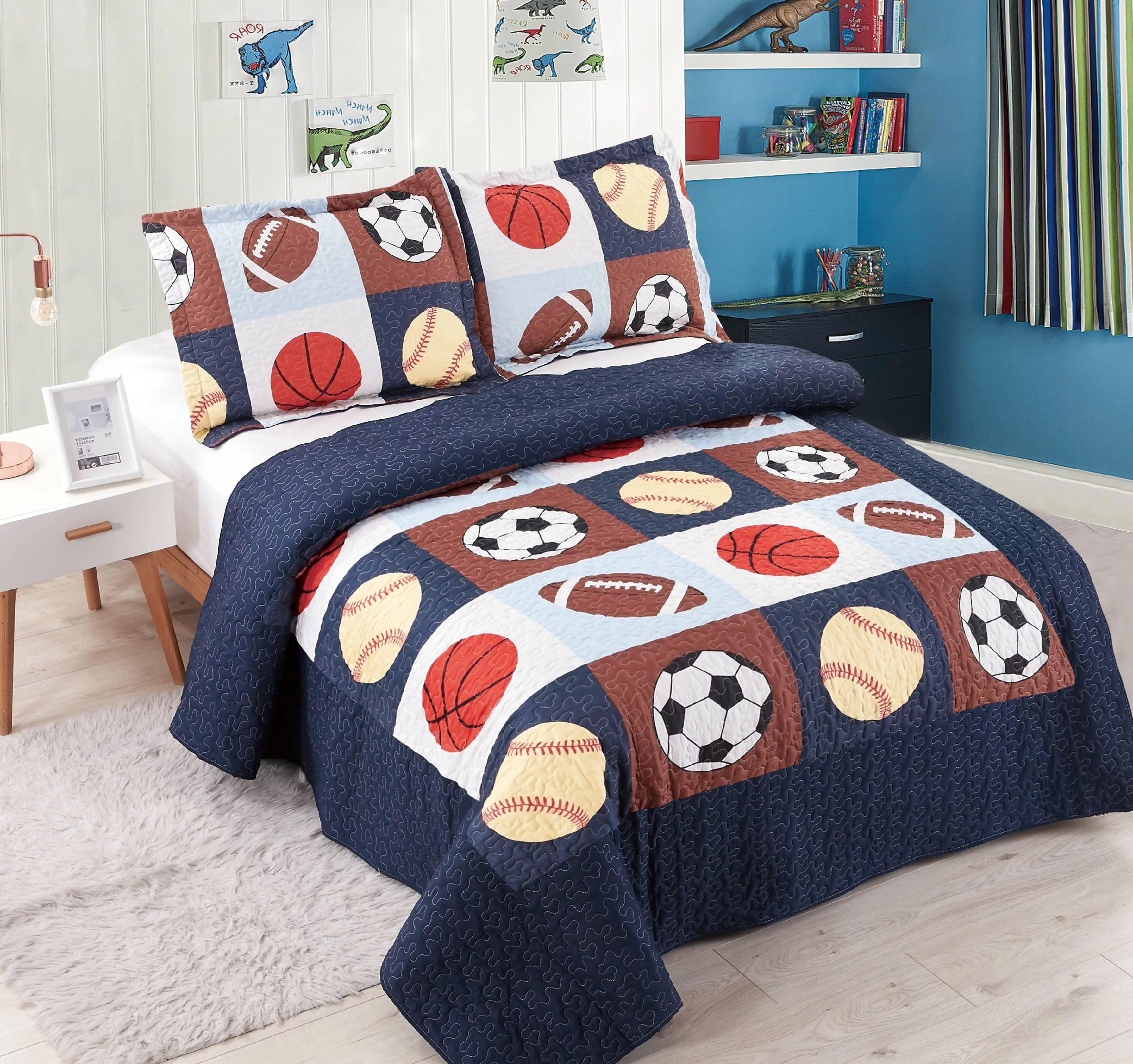 golden linens 3 pieces full size quilt bedspread set kids sports basketball football baseball for boys girls walmart com