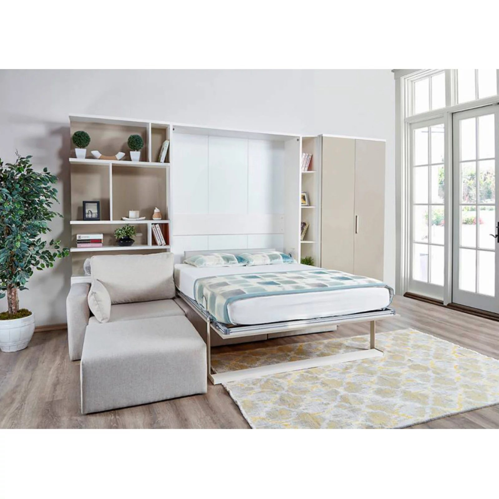 multimo royal murphy wall bed with bookcase storage and sectional sofa
