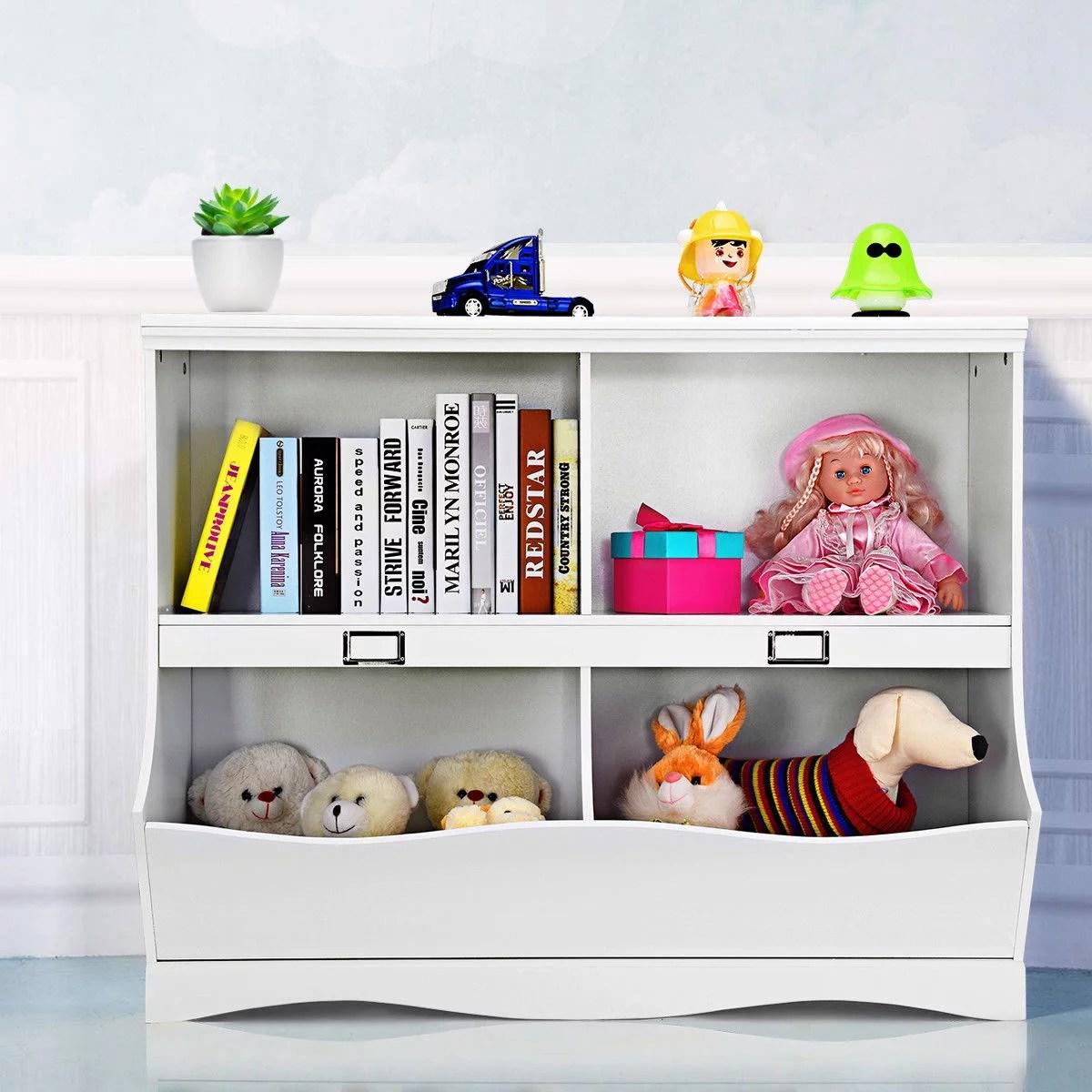 Gymax Children Storage Unit Kids Bookshelf Bookcase Baby Toy Organizer Shelf White