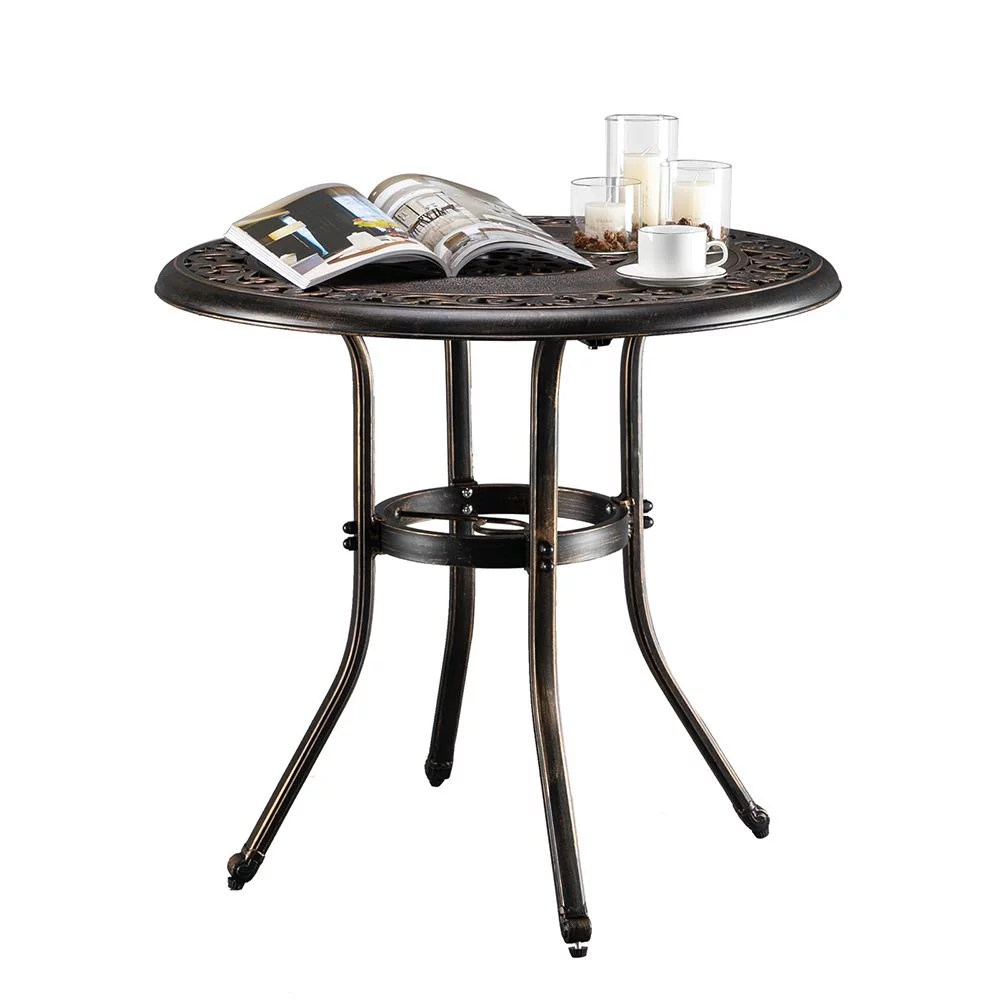 ktaxon 32 inch patio table with umbrella hole outdoor round cast aluminum bistro table bronze