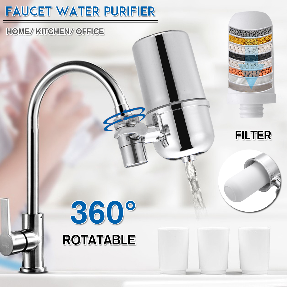 360 15 stage tap faucet water filter purifier system kitchen mount cleaner home