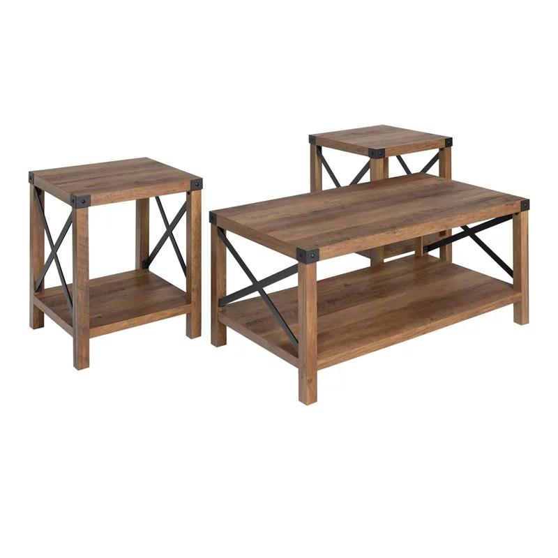 walker edison 3 piece rustic wood and metal coffee table set in rustic oak