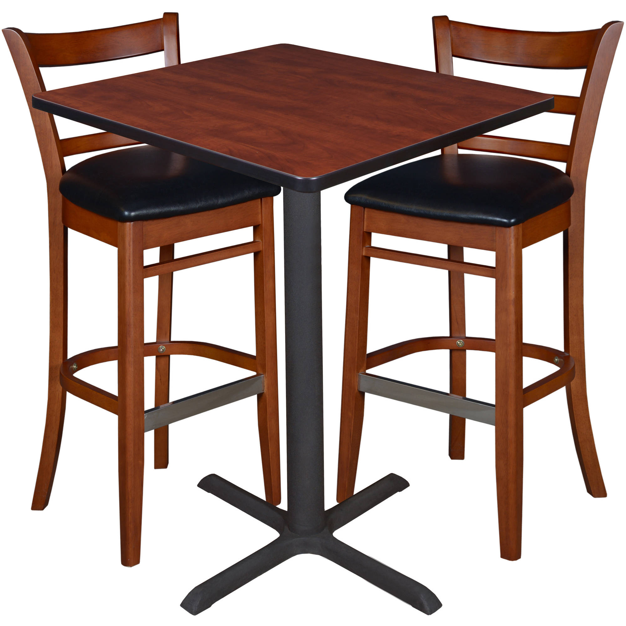 30 square caf table cherry 2 zoe caf stools cherry black