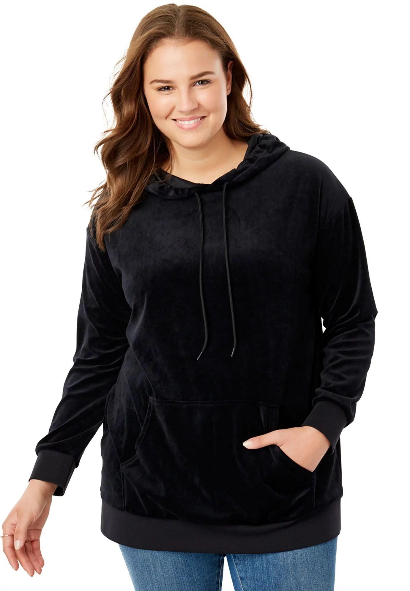 Plus Size Velour Hooded Sweatshirt